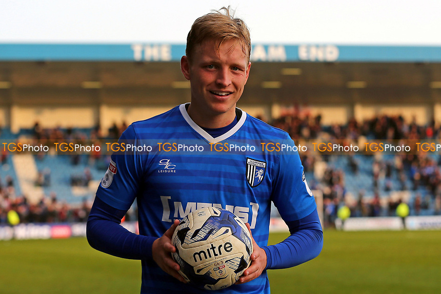 Gillingham's Josh Wright celebrates at the final whistle with the match ball after scoring a hat-trick of penalties during Gillingham vs Scunthorpe United, Sky Bet EFL League 1 Football at the MEMS Priestfield Stadium on 11th March 2017