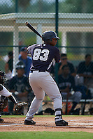 GCL Yankees 2 designated hitter Isiah Gilliam (83) at bat during the first game of a doubleheader against the GCL Pirates on July 31, 2015 at the Pirate City in Bradenton, Florida.  GCL Pirates defeated the GCL Yankees 2 2-1.  (Mike Janes/Four Seam Images)