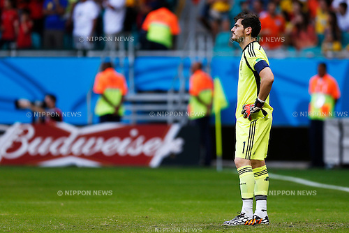 Iker Casillas (ESP), JUNE 13, 2014 - Football / Soccer : FIFA World Cup Brazil 2014 Group B match between Spain 1-5 Netherlands at Arena Fonte Nova in Salvador, Brazil. (Photo by D.Nakashima/AFLO)