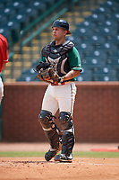 Greensboro Grasshoppers catcher Michael Hernandez (17) during a game against the Lakewood BlueClaws on June 10, 2018 at First National Bank Field in Greensboro, North Carolina.  Lakewood defeated Greensboro 2-0.  (Mike Janes/Four Seam Images)