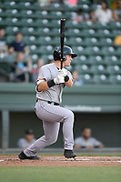 Second baseman Shane Matheny (15) of the Augusta GreenJackets bats in a game against the Greenville Drive on Wednesday, April 10, 2019, at Fluor Field at the West End in Greenville, South Carolina. Augusta won, 9-8. (Tom Priddy/Four Seam Images)