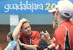 November 18 2011 - Guadalajara, Mexico:  David Legg (CPC President) talks with some of the Boccia team athletes during Canada's match against Team Columbia in the Sitting Volleyball Bronze Medal Game in the Pan American Volleyball Complex at the 2011 Parapan American Games in Guadalajara, Mexico.  Photos: Matthew Murnaghan/Canadian Paralympic Committee
