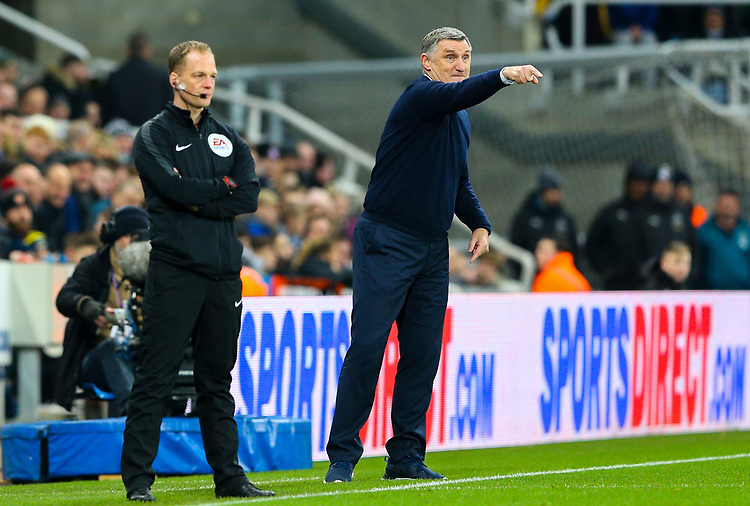 Blackburn Rovers manager Tony Mowbray shouts instructions to his team from the technical area<br /> <br /> Photographer Alex Dodd/CameraSport<br /> <br /> Emirates FA Cup Third Round - Newcastle United v Blackburn Rovers - Saturday 5th January 2019 - St James' Park - Newcastle<br />  <br /> World Copyright © 2019 CameraSport. All rights reserved. 43 Linden Ave. Countesthorpe. Leicester. England. LE8 5PG - Tel: +44 (0) 116 277 4147 - admin@camerasport.com - www.camerasport.com
