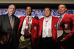 30 May 2012: 2012 Colin Jose Media Award recipient Grahame Jones (left) with 2012 Inductees (from left) Desmond Armstrong, Tony Meola, and Tony DiCicco. The 2012 National Soccer Hall of Fame Induction Ceremony was held at Fedex Field in Landover, Maryland before a men's international friendly soccer match between the United States and Brazil.