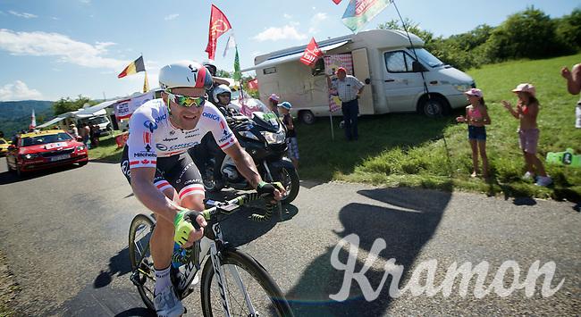 Svein Tuft (CAN/Orica-GreenEDGE) up the Côte de Rogna (7.6km/4.9%)<br /> <br /> <br /> 2014 Tour de France<br /> stage 11: Besançon - Oyonnax (187km)