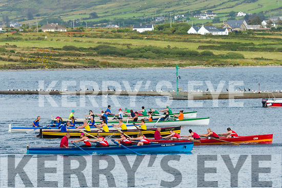Action from the start of the Senior Ladies race at the Valentia Regatta on Monday, with the Sneem crew pictured here taking an early lead and finishing in pole position.