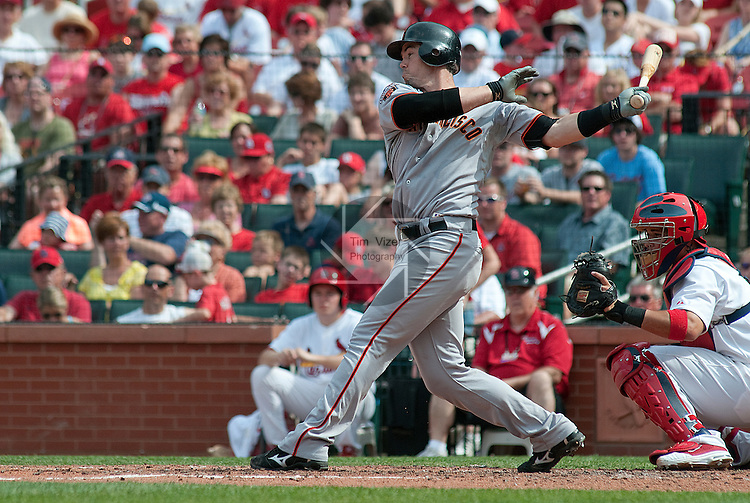 30 May 2011                             San Francisco Giants catcher Eli Whiteside (22) struck out swinging in the fourth inning.  At right is St. Louis catcher Yadier Molina. The San Francisco Giants defeated the St. Louis Cardinals 7-3 on Monday May 30, 2011 in the first game of a four-game series at Busch Stadium in downtown St. Louis.