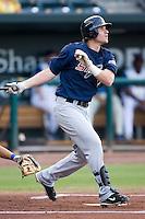 Matt Gamel (17) of the Huntsville Stars follows through on his swing at the Baseball Grounds in Jacksonville, FL, Thursday June 12, 2008.