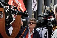 Roma, 19 Aprile 2017<br /> Susanna Camusso.<br /> La CGIL in Piazza della Rotonda al Pantheon in occasione della votazione al Senato per la conversione in legge del decreto per l'abolizione dei voucher e la reintroduzione della responsabilit&agrave; solidale negli appalti.