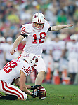 Wisconsin Badgers holder Brad Nortman (98) holds the ball for kicker Philip Welch (18) during the 2012 Rose Bowl NCAA football game against the Oregon Ducks in Pasadena, California on January 2, 2012. The Ducks won 45-38. (Photo by David Stluka)