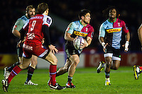 Ben Botica of Harlequins in possession. European Rugby Challenge Cup semi final, between Harlequins and Grenoble on April 22, 2016 at the Twickenham Stoop in London, England. Photo by: Patrick Khachfe / JMP