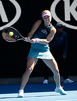 14th January 2019, Melbourne Park, Melbourne, Australia; Australian Open Tennis, day 1; <br /> Angelique Kerber of Germany returns a ball during a match against Polona Hercog of Slovenia