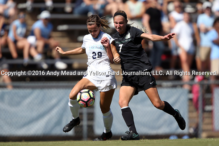 21 August 2016: North Carolina's Maggie Bill (28) and Charlotte's Megan Greene (7). The University of North Carolina Tar Heels hosted the University of North Carolina Charlotte 49ers in a 2016 NCAA Division I Women's Soccer match. UNC won the game 3-0