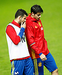 Spain's Diego Costa (l) and Alvaro Morata during training session. March 23,2017.(ALTERPHOTOS/Acero)