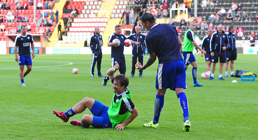 Leicester City&rsquo;s Shinji Okazaki, left, during the pre-match warm-up with team-mate Leonardo Ulloa<br /> <br /> Photographer Chris Vaughan/CameraSport<br /> <br /> Football - Football Friendly - Lincoln City v Leicester City - Tuesday 21st July 2015 - Sincil Bank - Lincoln<br /> <br /> &copy; CameraSport - 43 Linden Ave. Countesthorpe. Leicester. England. LE8 5PG - Tel: +44 (0) 116 277 4147 - admin@camerasport.com - www.camerasport.com
