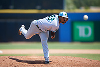 Daytona Tortugas starting pitcher Tony Santillan (23) delivers a pitch during a game against the Dunedin Blue Jays on April 22, 2018 at Dunedin Stadium in Dunedin, Florida.  Daytona defeated Dunedin 5-1.  (Mike Janes/Four Seam Images)