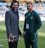 Victory Matfield Supersport rugby commentator with Duane Vermeulen of South Africa during the 2018 Castle Lager Incoming Series 2nd Test match between South Africa and England at the Toyota Stadium.Bloemfontein,South Africa. 16,06,2018 Photo by Steve Haag / stevehaagsports.com