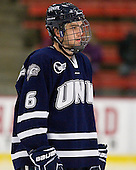 Trevor van Riemsdyk (UNH - 6) - The Harvard University Crimson defeated the University of New Hampshire Wildcats 7-6 on Tuesday, November 22, 2011, at Bright Hockey Center in Cambridge, Massachusetts.