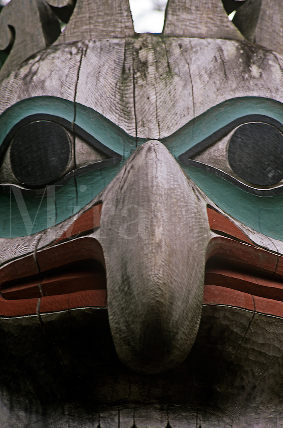 Detail of decoreations on long house Totem Bight State Park in Katecikan Alaska.