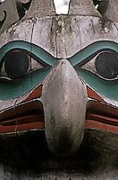 Detail of decoreations on long house Totem Bight State Park in Katecikan Alaska.