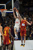 Real Madrid´s Rudy Fernandez and Galatasaray´s Micov during 2014-15 Euroleague Basketball match between Real Madrid and Galatasaray at Palacio de los Deportes stadium in Madrid, Spain. January 08, 2015. (ALTERPHOTOS/Luis Fernandez) /NortePhoto /NortePhoto.com