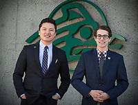 USUAA President Alec Burris, right, and Vice President Geser Bat-Erdene, outside UAA's Student Union.