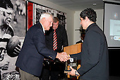 Counties Manukau B's Player of the Year Jamie Metcalfe receives his award fron Vic Hinton. CMRFU Senior prize giving held at Growers Stadium on Wednesday 22nd of October 2008.