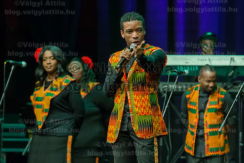 Members of the Harlem Gospel Choir sing during a concert in Budapest, Hungary on December 16, 2014. ATTILA VOLGYI