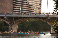 "Kayakers take spectacle as the 1.5 million Mexican free-tailed bats explode out of the Congress Avenue Bridge. Underneath the Ann W. Richards Congress Avenue Bridge lives the largest urban bat colony in North America. When they emerge in the evening during ""bat season,"" it's like a cloud flying toward the east. There are several locations where you can see the group of bats. From March to November every year, bat enthusiasts gather to be mesmorized by the South Congress Bridge Bats' aerial show."