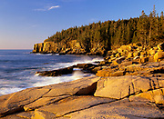 Acadia National Park located on Mount Desert Island, Maine USA which is part of scenic New England. Otter Cliff is off in the distance.