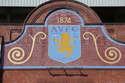 14.02.2016. Villa Park, Birmingham, England. Barclays Premier League. Aston Villa versus Liverpool.<br /> Aston Villa emblem above the Holte End