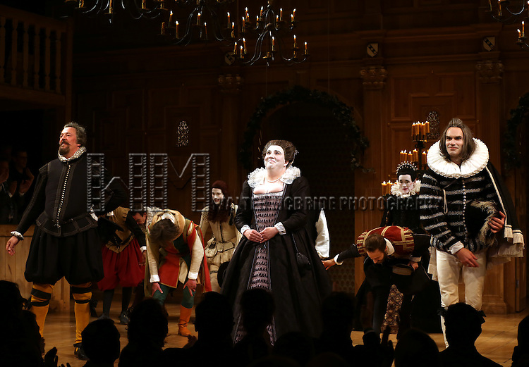 Stephen Fry, Paul Chahidi, Mark Rylance, Angus Wright and the Cast during the Broadway Opening Night Performance Curtain Call for 'Twelfth Night' at the Belasco Theatre on November 10, 2013 in New York City.