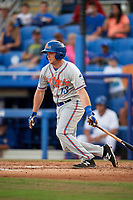 St. Lucie Mets second baseman Dale Burdick (13) follows through on a swing during a game against the Dunedin Blue Jays on April 20, 2017 at Florida Auto Exchange Stadium in Dunedin, Florida.  Dunedin defeated St. Lucie 6-4.  (Mike Janes/Four Seam Images)