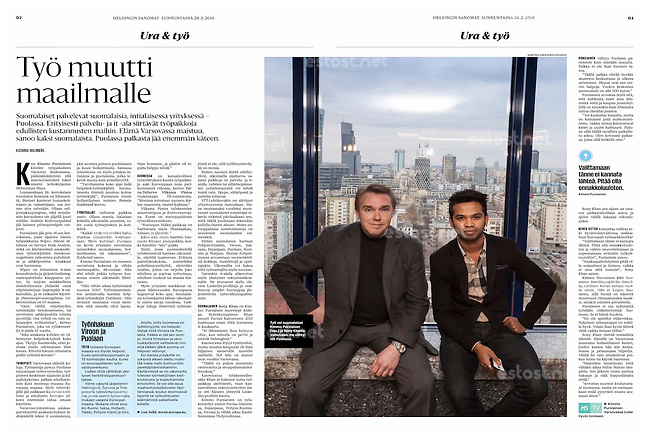 Helsingin Sanomat (leading Finnish daily) on Finnish entrepreneurs in Warsaw, Poland, February 2016<br />