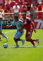 10 July 2010: Colorado Rapids defender/midfielder Pablo Mastroeni #25 and Toronto FC forward Dwayne De Rosario #14 in action during a game between the Colorado Rapids and Toronto FC at BMO Field in Toronto..Toronto FC won 1-0.