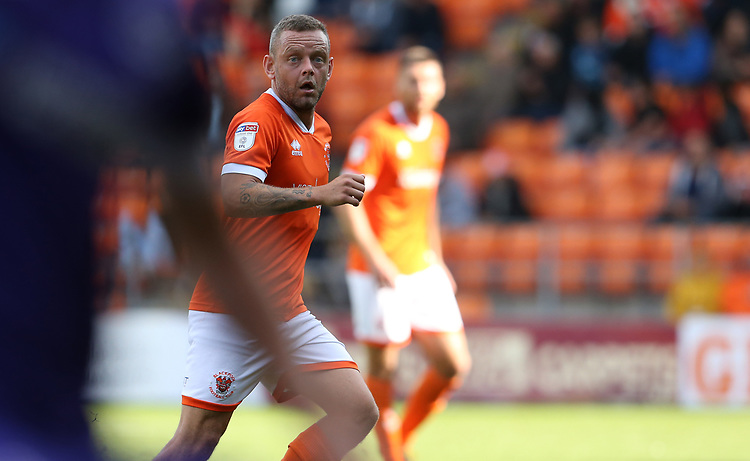 Blackpool's Jay Spearing<br /> <br /> Photographer Stephen White/CameraSport<br /> <br /> The EFL Sky Bet League One - Blackpool v Portsmouth - Saturday 31st August 2019 - Bloomfield Road - Blackpool<br /> <br /> World Copyright © 2019 CameraSport. All rights reserved. 43 Linden Ave. Countesthorpe. Leicester. England. LE8 5PG - Tel: +44 (0) 116 277 4147 - admin@camerasport.com - www.camerasport.com