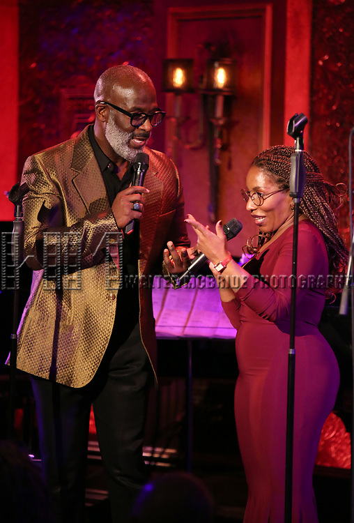 """BeBe Winans and Stephanie Mills on stage during a Song preview performance of the BeBe Winans Broadway Bound Musical """"Born For This"""" at Feinstein's 54 Below on November 5, 2018 in New York City."""