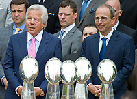 New England Patriots owner Robert Kraft, left, and his son, Jonathan Kraft, right, listen as United States President Donald J. Trump welcomes the Super Bowl Champions to the South Lawn of White House in Washington, DC on Wednesday, April 19, 2917.<br /> Credit: Ron Sachs / CNP/MediaPunch<br /> <br /> (RESTRICTION: NO New York or New Jersey Newspapers or newspapers within a 75 mile radius of New York City)
