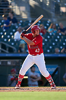 Palm Beach Cardinals Luken Baker (47) bats during a Florida State League game against the Clearwater Threshers on August 10, 2019 at Roger Dean Chevrolet Stadium in Jupiter, Florida.  Clearwater defeated Palm Beach 11-4.  (Mike Janes/Four Seam Images)