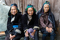 Huanggang, Guizhou, China.  Elderly Dong Women in a Dong Ethnic Village.