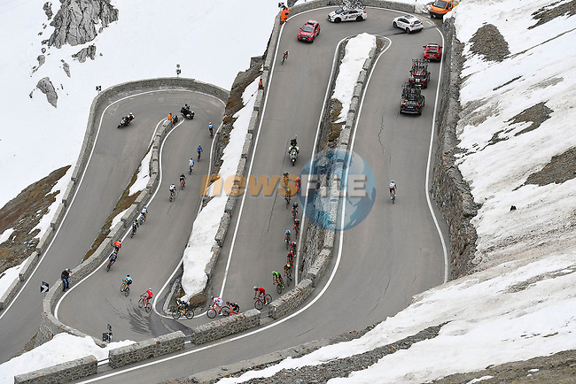 Stage 16 the Queen Stage of this year's Corsa Rosa features a double pass over the Stelvio for a total elevation of 5,500m, the first key climb of the day is the Mortirolo Pass (Salita Scarponi) followed closely by the first passage of the Stelvio (Cima Coppi) which will take riders to the highest point of the race at 2758m of the 100th edition of the Giro d'Italia 2017, running 222km from Rovetta to Bormio, Italy. 23rd May 2017.<br /> Picture: LaPresse/Fabio Ferrari | Cyclefile<br /> <br /> <br /> All photos usage must carry mandatory copyright credit (&copy; Cyclefile | LaPresse/Fabio Ferrari)