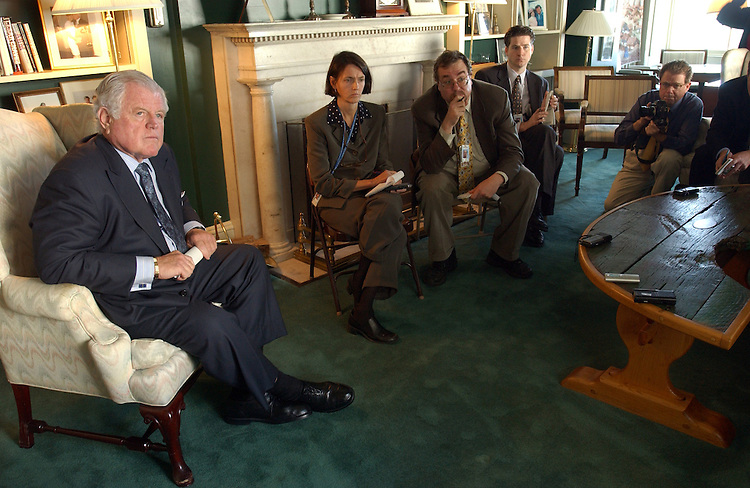 Edward Kennedy, D-Mass., talks with reporters in his Capitol hide away about the war in Iraq.