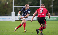 Oli Grove of London Scottish in action during the Greene King IPA Championship match between London Scottish Football Club and Jersey at Richmond Athletic Ground, Richmond, United Kingdom on 7 November 2015. Photo by Andy Rowland.