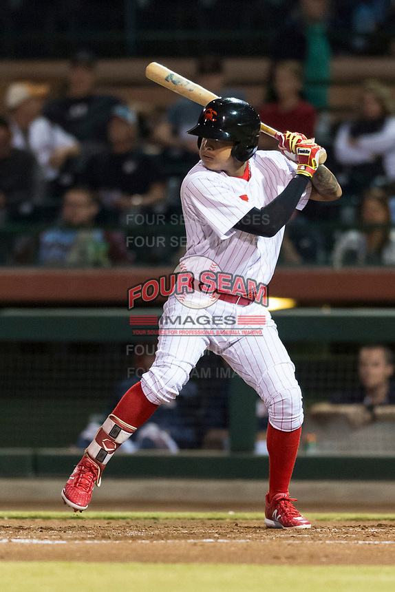 Scottsdale Scorpions shortstop Arquimedes Gamboa (7), of the Philadelphia Phillies organization, at bat during an Arizona Fall League game against the Surprise Saguaros at Scottsdale Stadium on October 15, 2018 in Scottsdale, Arizona. Surprise defeated Scottsdale 2-0. (Zachary Lucy/Four Seam Images)
