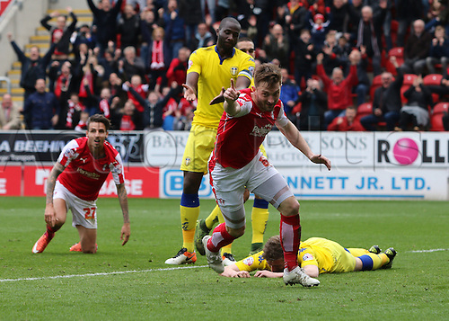02.04.2016. New York Stadium, Rotherham England.  Sky Bet Championship Rotherham versus Leeds United. Rotherham Uniteds Lee Frecklington turns away as he celebrates his goal