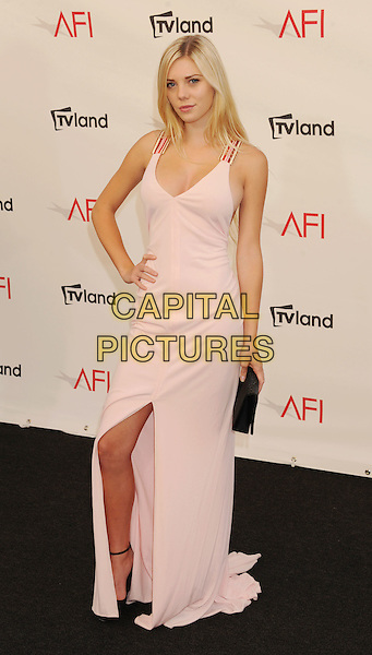 Claire Alys Julien.arriving at the 40th AFI Life Achievement Award at Sony Pictures Studios in Culver City, California, USA, .June 7th, 2012. .full length red straps long maxi white cream nude pink dress slit split long maxi black clutch bag hand on hip .CAP/ROT/TM.©TM/Roth Stock/Capital Pictures