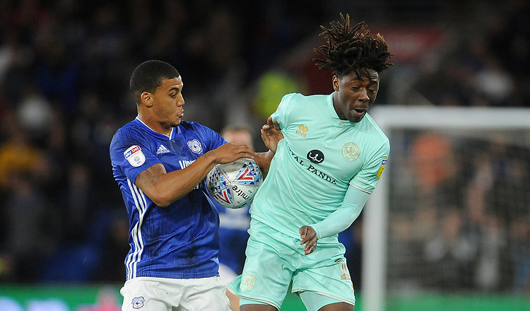 Queens Park Rangers' Eberechi Eze battles with Cardiff City's Lee Peltier<br /> <br /> Photographer Ian Cook/CameraSport<br /> <br /> The EFL Sky Bet Championship - Cardiff City v Queens Park Rangers - Wednesday 2nd October 2019  - Cardiff City Stadium - Cardiff<br /> <br /> World Copyright © 2019 CameraSport. All rights reserved. 43 Linden Ave. Countesthorpe. Leicester. England. LE8 5PG - Tel: +44 (0) 116 277 4147 - admin@camerasport.com - www.camerasport.com