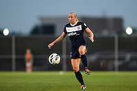 Sky Blue FC defender Kendall Johnson (5). Sky Blue FC defeated the Washington Spirit 1-0 during a National Women's Soccer League (NWSL) match at Yurcak Field in Piscataway, NJ, on August 3, 2013.