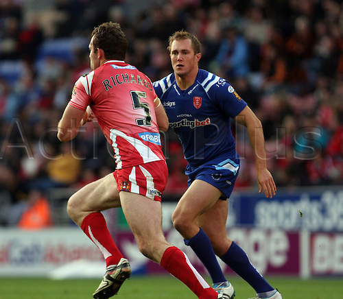 30.05.2011. Engage Super League Rugby. Wigan Warriors versus Hull Kingston Rovers at the DW Stadium. Pat Richards beats his opponent for pace