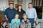 Brendan Brosnan, Churchill (back Lt) was delighted to meet up with his first cousins in Finnegan's, Tralee last Saturday night (seated) l-r: Maria Ross-Russell and Cecilie Brosnan, aunt both UK. Back l-r: Brendan Brosnan, Anne Brosnan, UK and John Brosnan, Malaysia.
